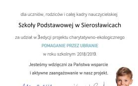 podziękowanie SP Sierosławice